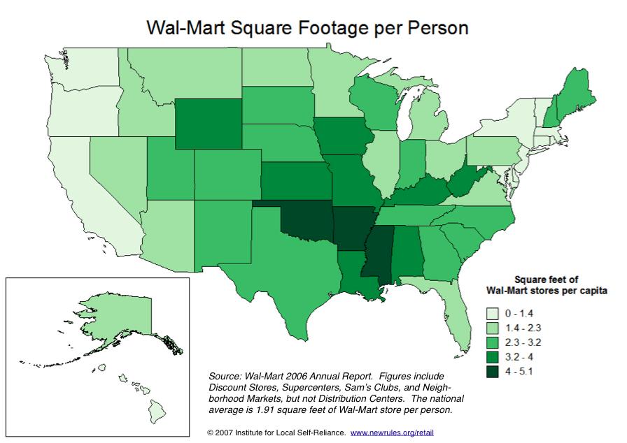 Walmart Square Footage per Person