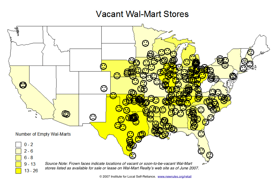 Vacant Walmart Stores (as of June 2007)