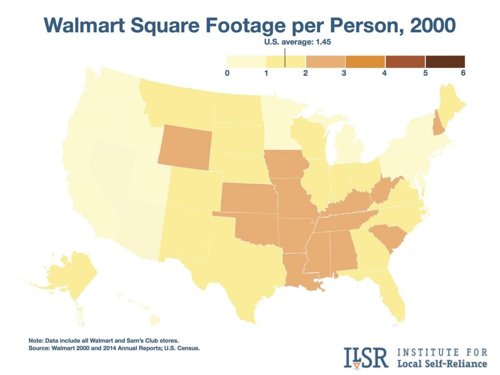 Map: Walmart Square Footage per person, 2000.