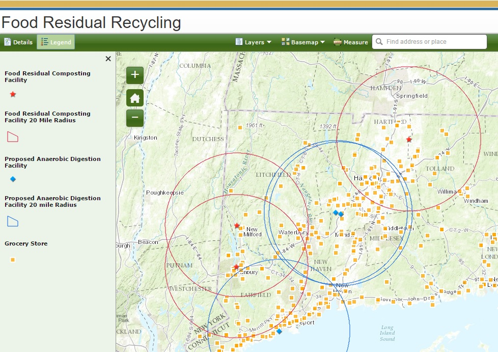 food residual connecticut recycles GIS mapping tool