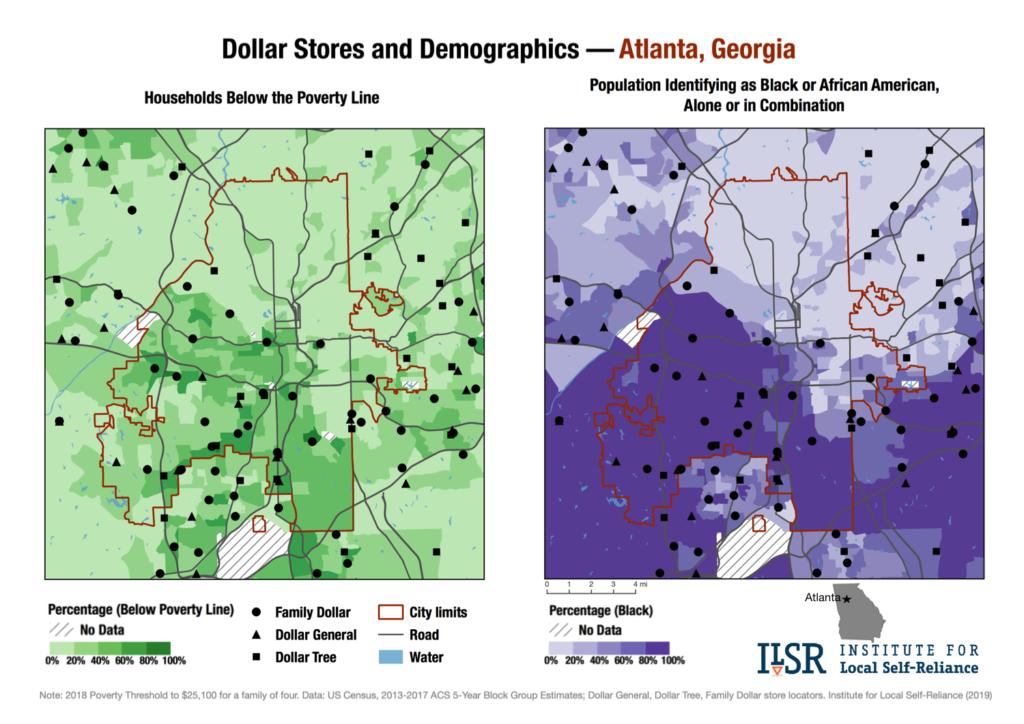 Dollar Stores and Demographics map — Atlanta, Ga.
