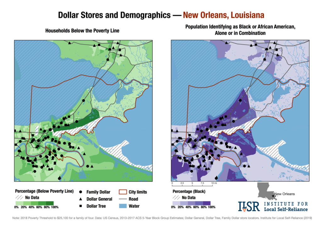 Dollar stores and demographics maps — New Orleans, La.
