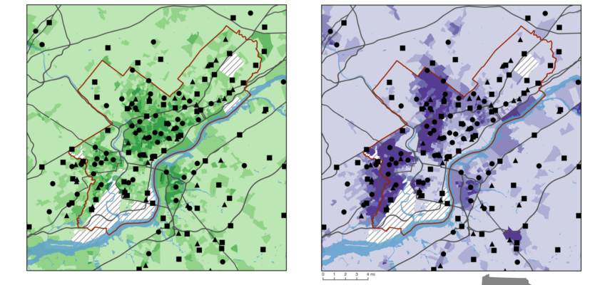Dollar stores and demographics maps — Philadelphia, Pa.