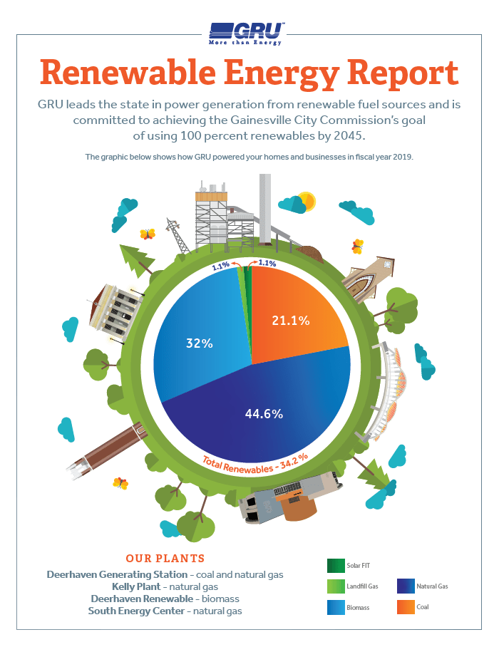 A breakdown of the sources of Gainesville's energy